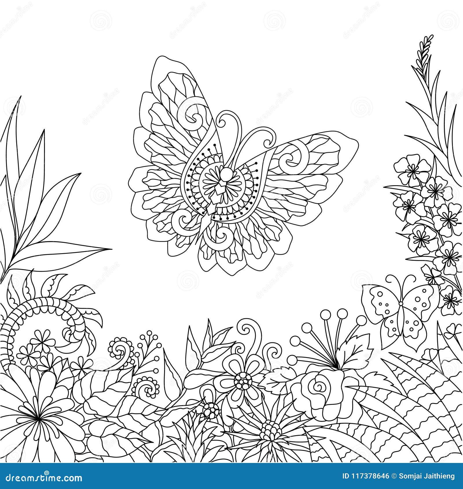 Línea Diseño Del Arte De Flores Y De Hojas Tropicales Con El Espacio ...