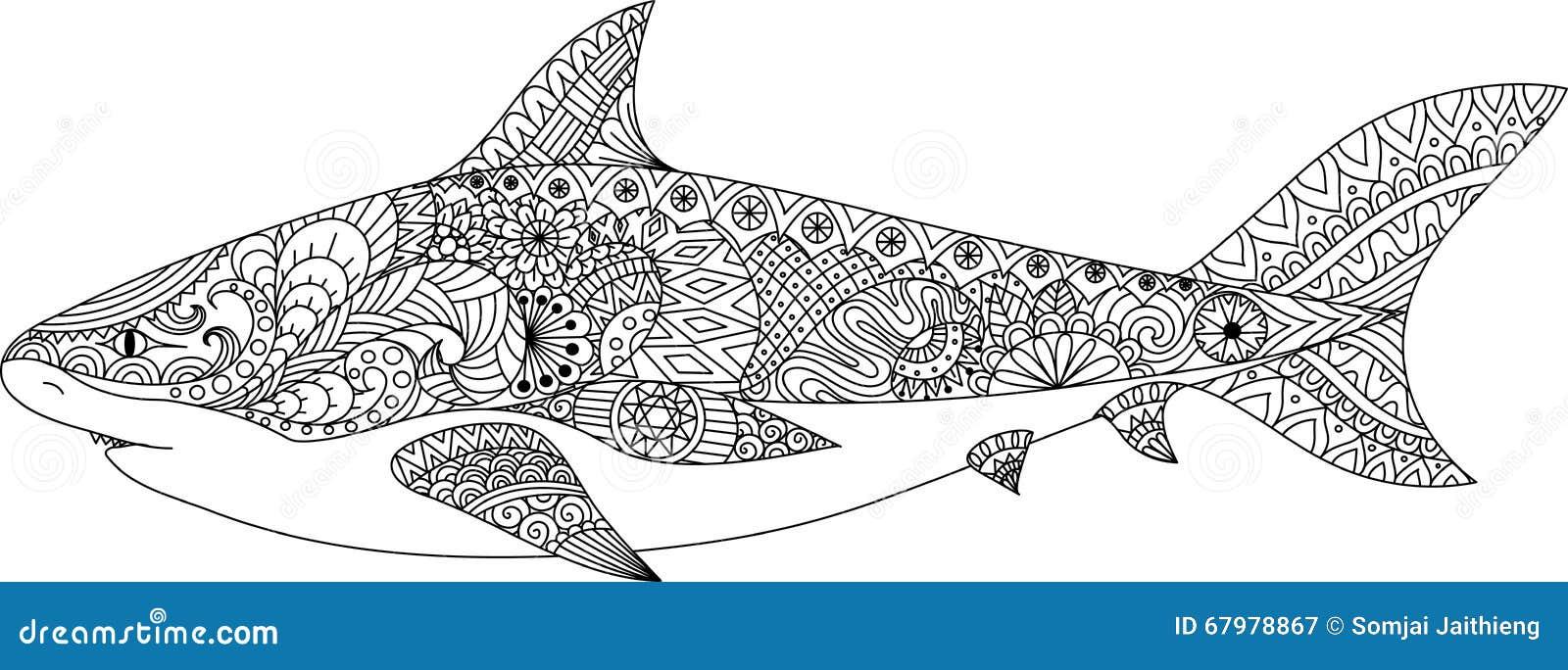 Línea Diseño Del Tiburón Del Arte Para El Libro De Colorear Para El ...