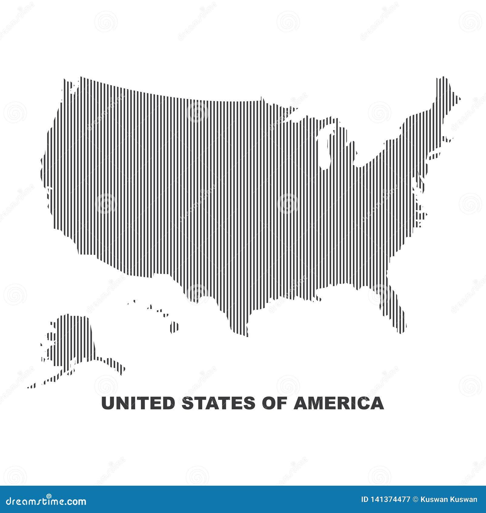Línea diseño del vector el país de América los E.E.U.U. los Estados Unidos de América