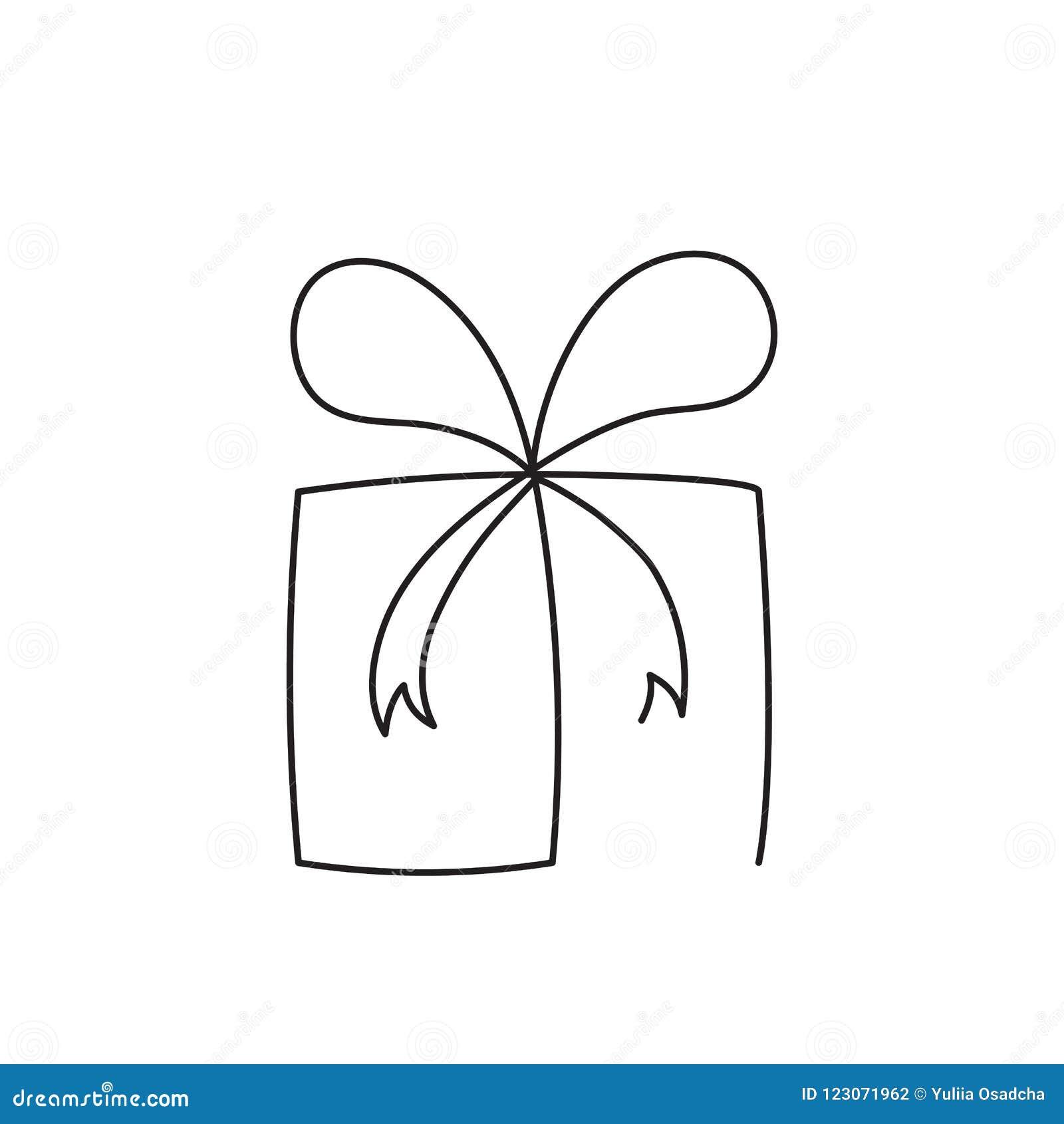 Línea editable continua ejemplo de la actual caja del vector Paquete envuelto de la sorpresa con la cinta y el arco