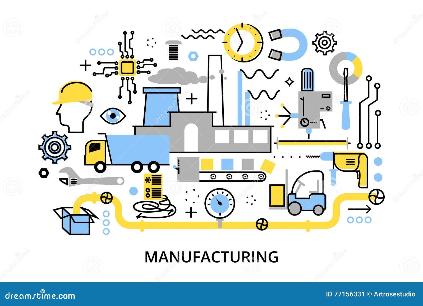 Línea editable plana moderna ejemplo del vector del diseño, concepto de planta y proceso de fabricación