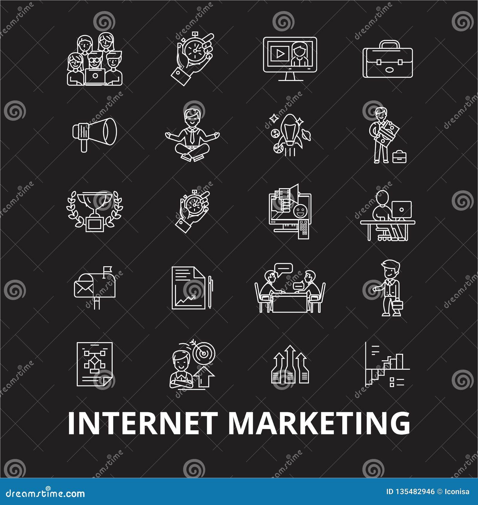 Línea editable sistema del márketing de Internet del vector de los iconos en fondo negro Ejemplos blancos del esquema del márketi