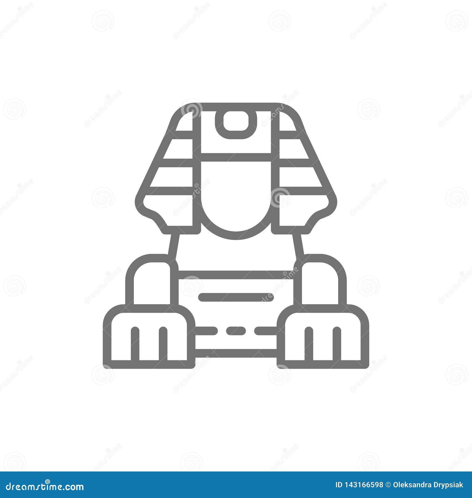 Línea egipcia icono de la esfinge