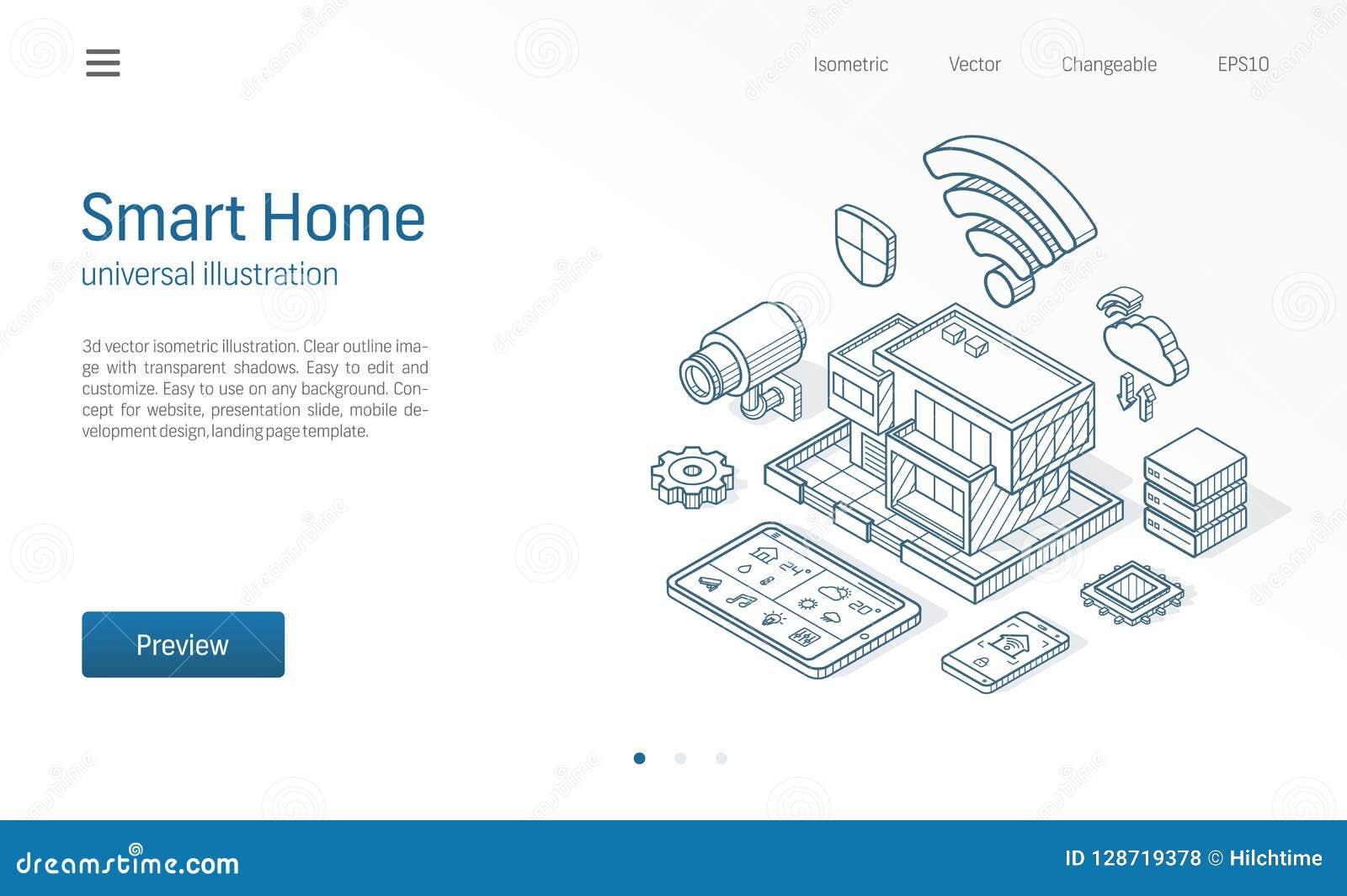 Línea ejemplo isométrica casera elegante Casa de la tecnología, red del cctv del control, negocio moderno del edificio de la arqu