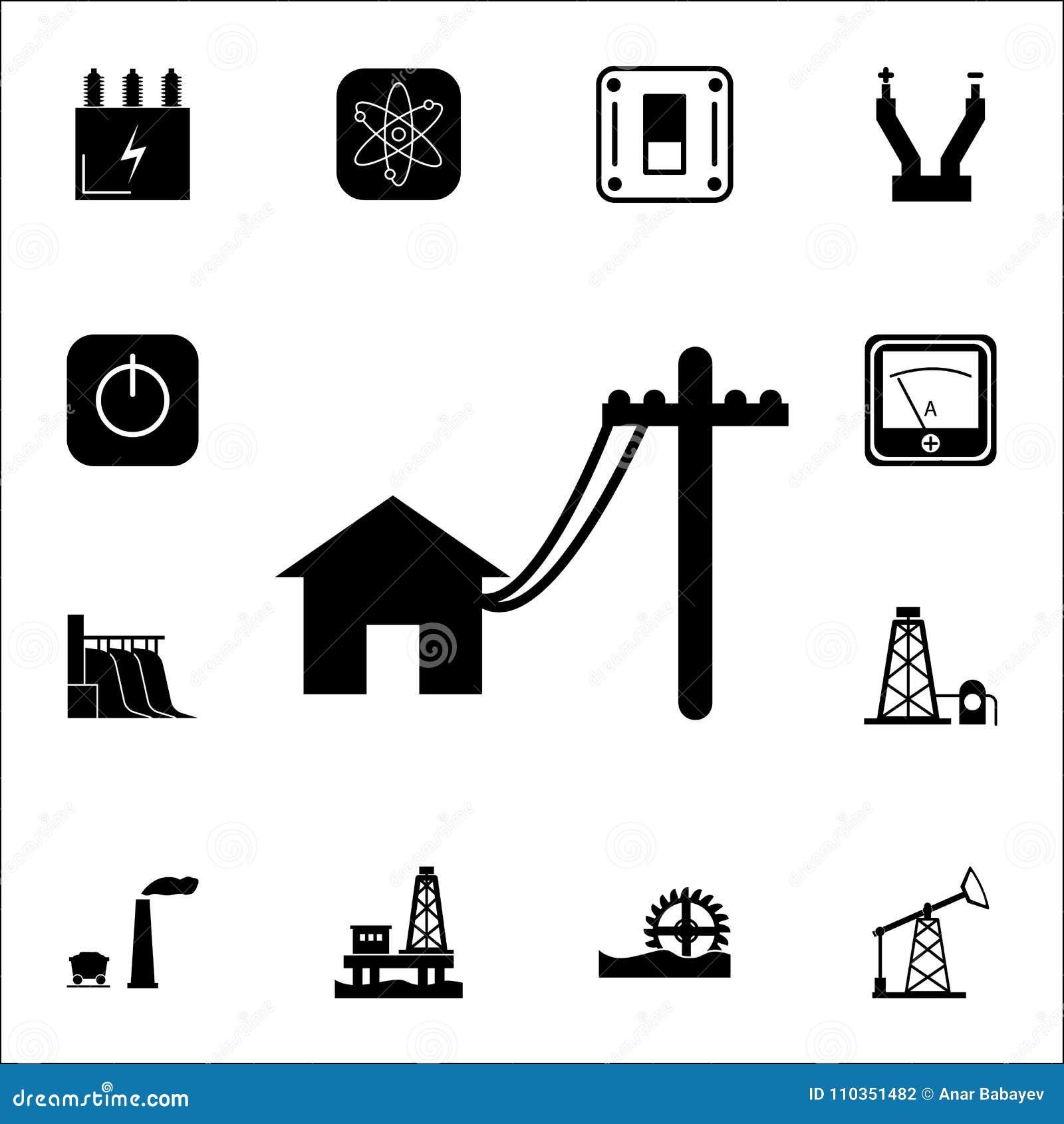 Línea eléctrica de los polos para contener el icono Sistema de iconos de la energía Iconos superiores del diseño gráfico de la ca