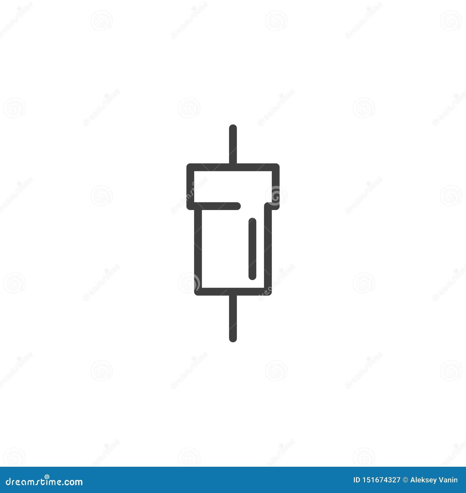 Línea eléctrica icono del resistor