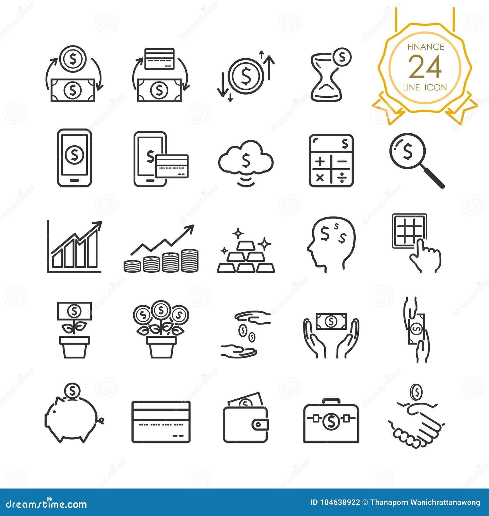 Línea elementos determinados de las finanzas del icono de billete de banco, de moneda, de tarjeta de crédito, de intercambio y de