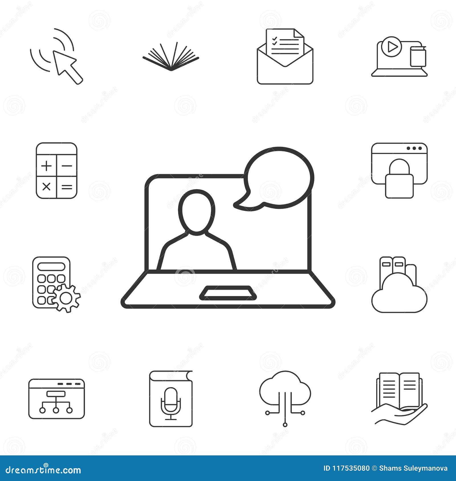 Línea en línea icono de la charla video Ejemplo simple del elemento Línea en línea diseño de la charla video del símbolo del sist