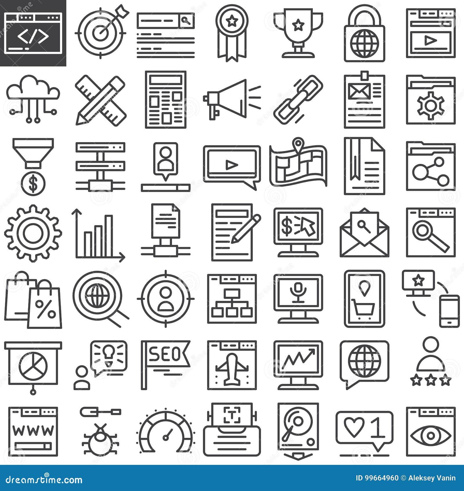 Línea en línea iconos del márketing de Seo fijados