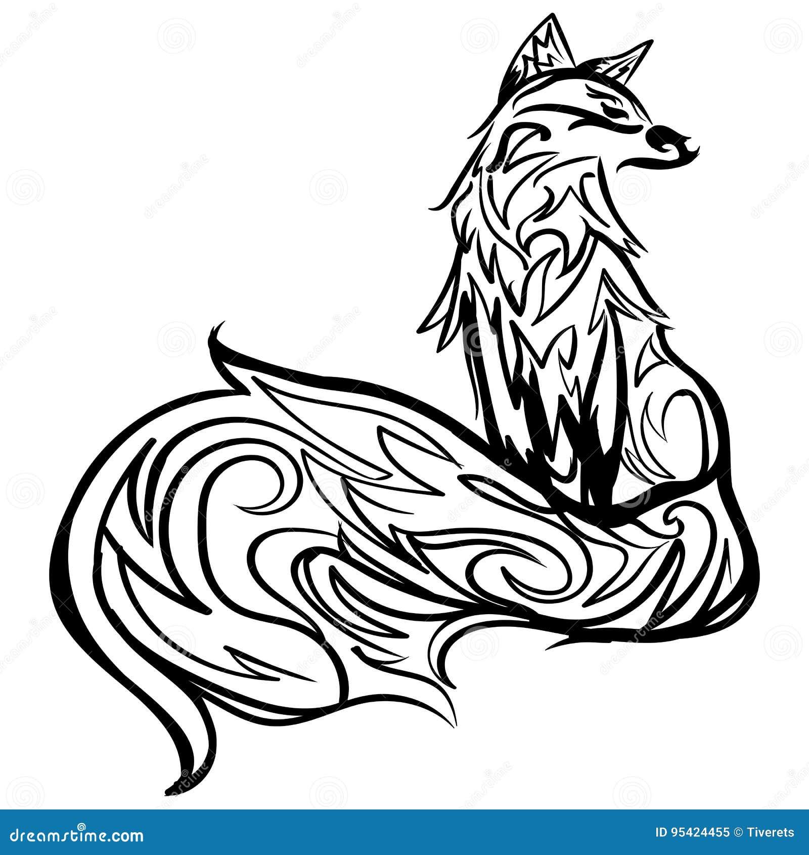 Línea Estilizada Arte Del Zorro Tatuaje Blanco Y Negro Ilustración