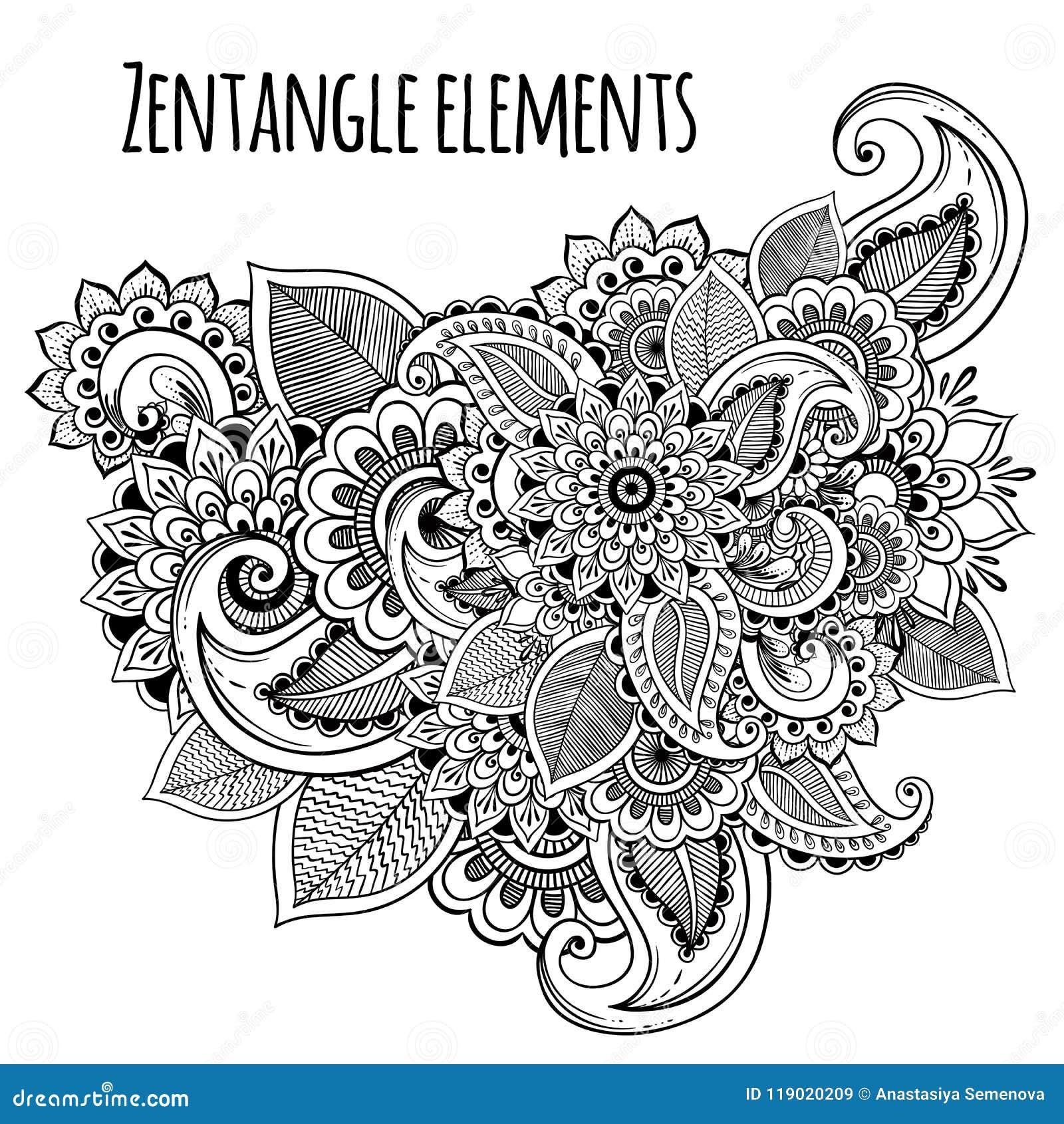 Linea Estilo Decorativo Del Zentangle De Las Flores Del Arte