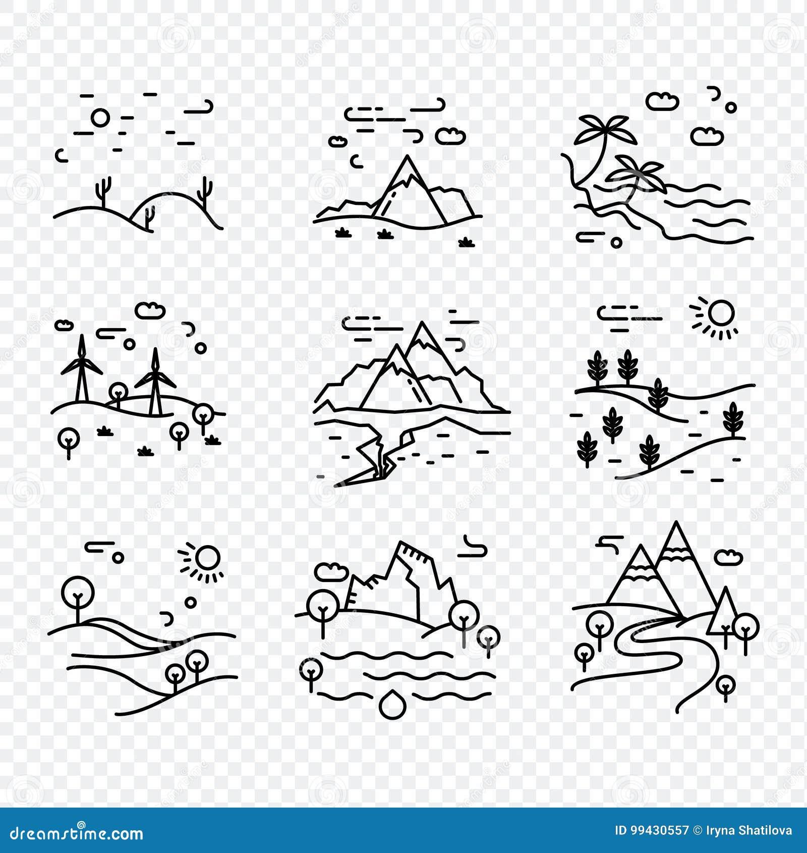 Línea fina única naturaleza de los iconos del vector del eco