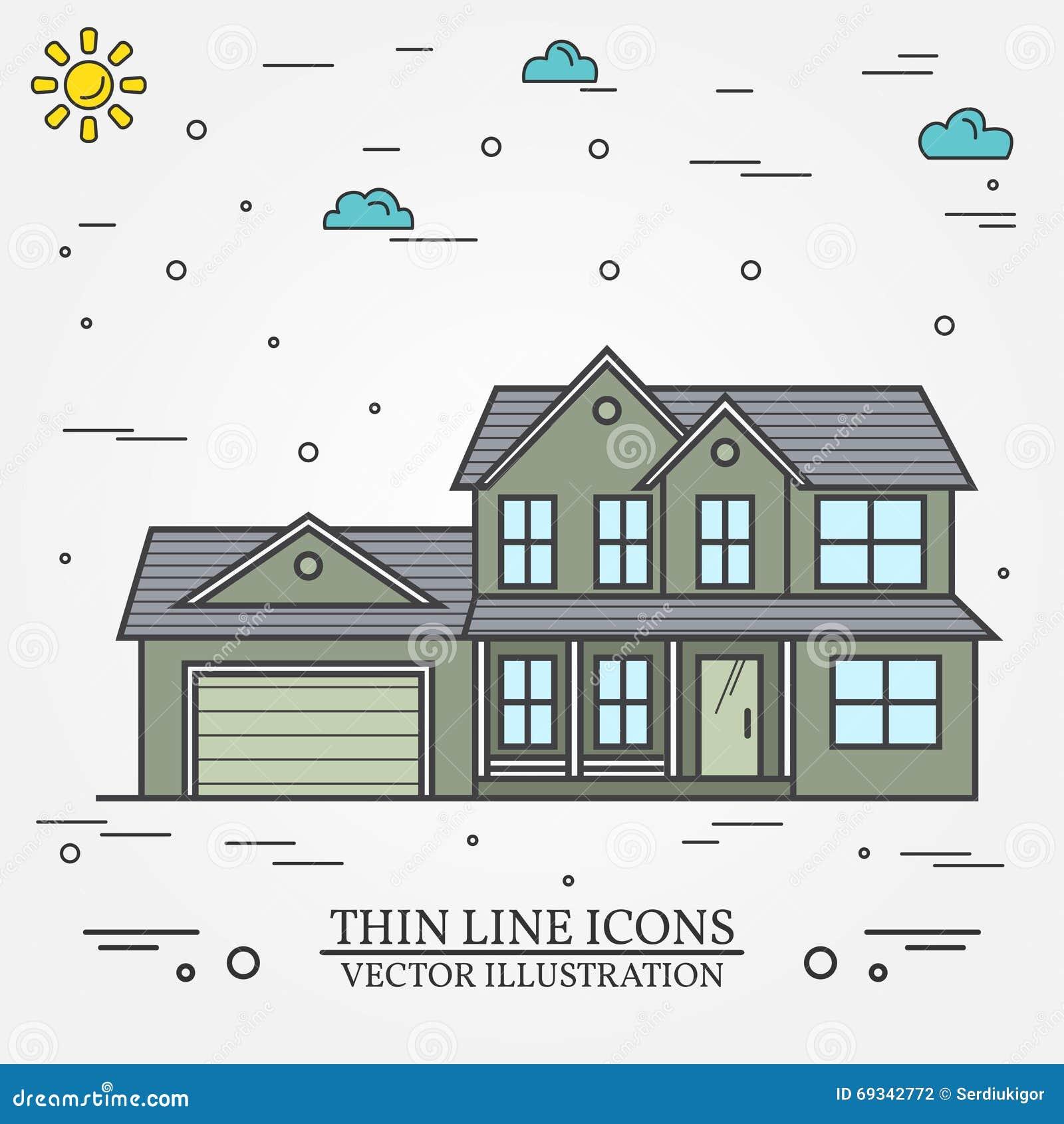 lnea fina casa americana suburbana del vector del icono para el diseo web a