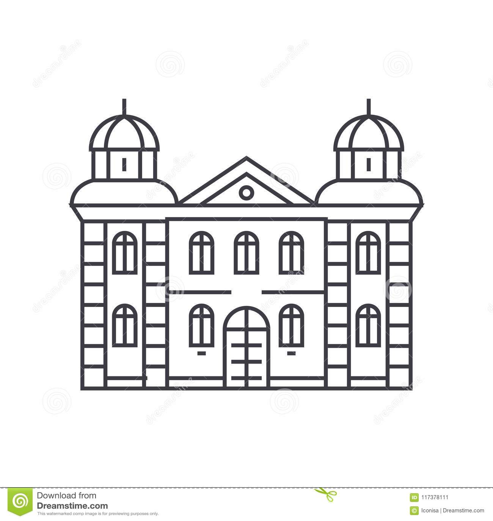 Línea fina concepto del hotel del icono Muestra linear del vector del hotel, símbolo, ejemplo