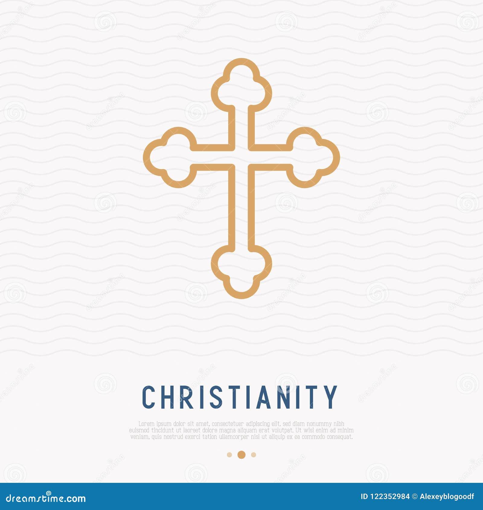 Línea fina cruzada cristiana icono