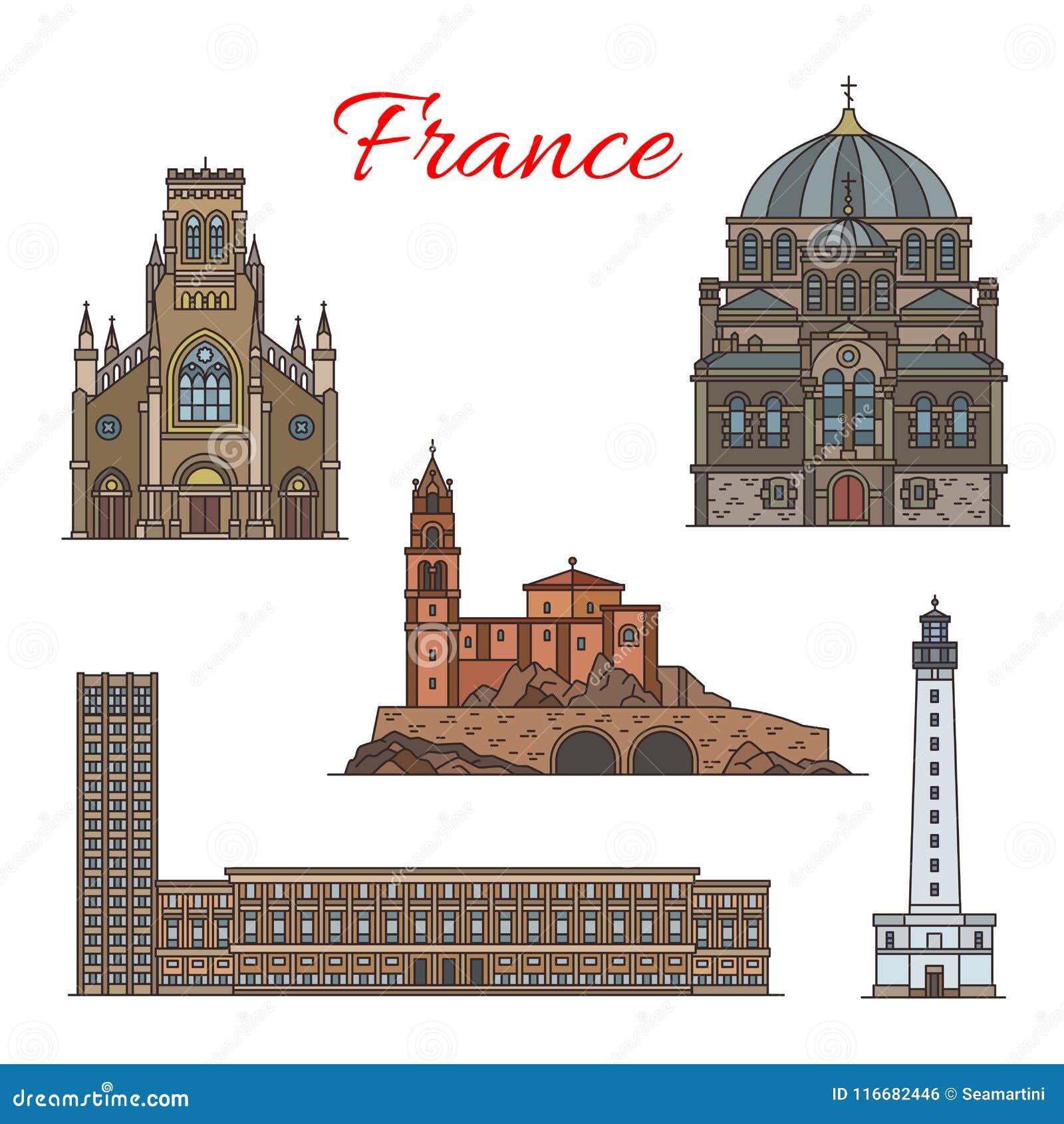 Línea fina icono de la arquitectura de la señal francesa del viaje