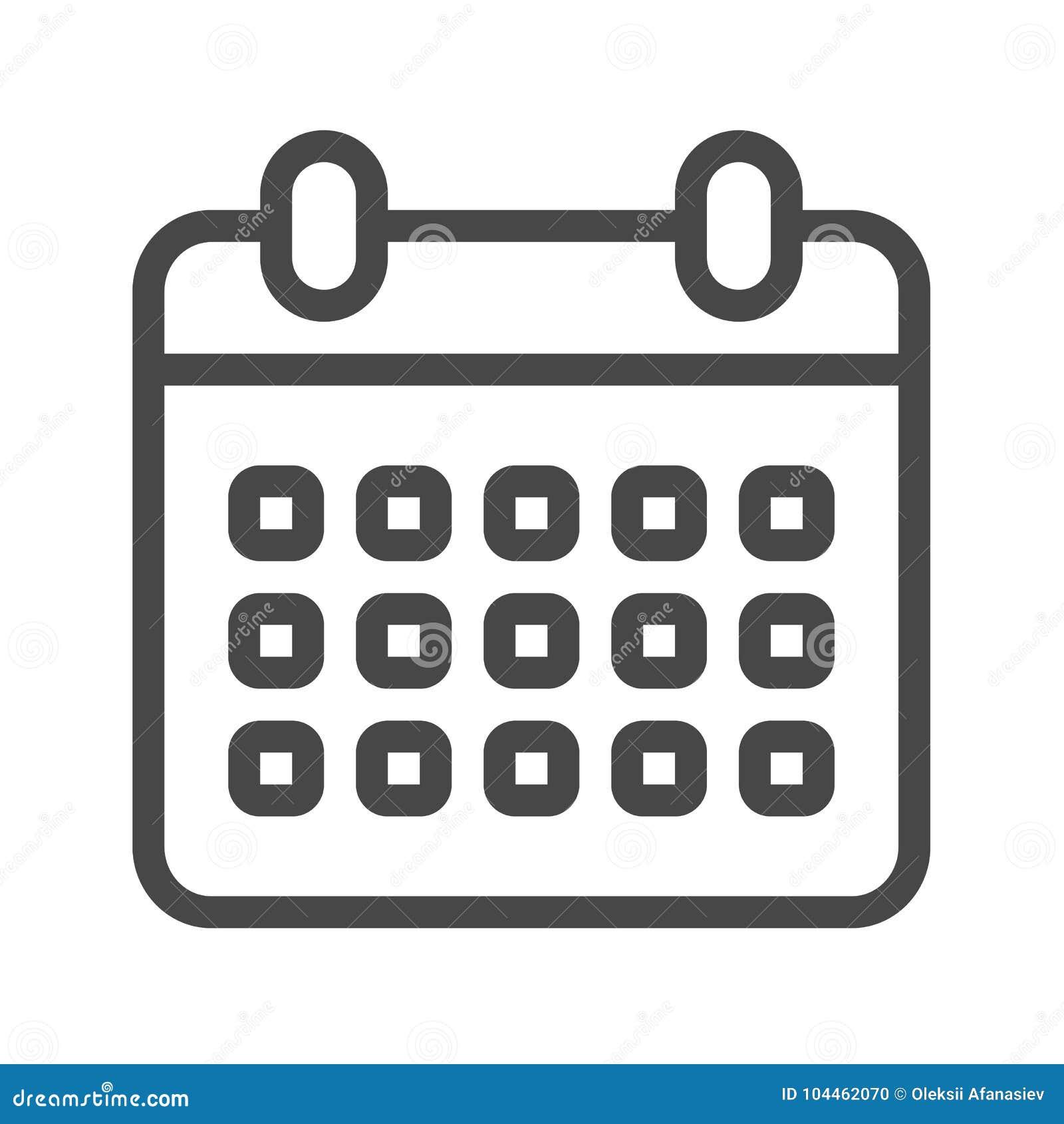 Calendario Vector.Linea Fina Icono Del Calendario Del Vector Ilustracion Del Vector