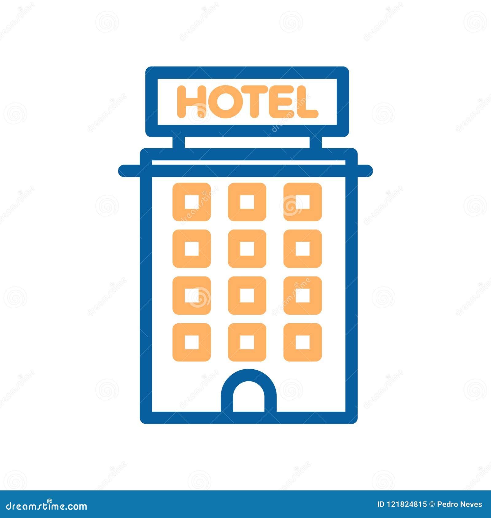 Línea fina icono del hotel Construyendo, propiedades inmobiliarias, motel, apartamentos del turismo