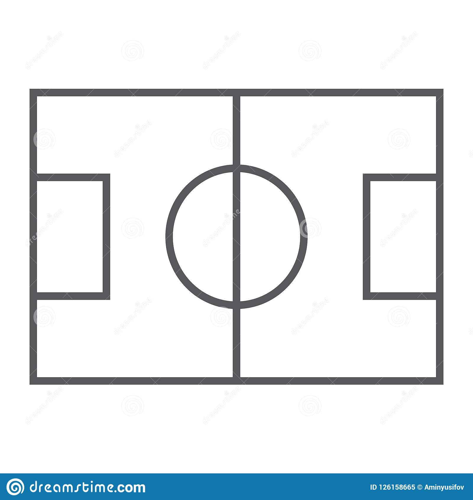 Línea fina icono, juego y deporte del campo de fútbol,