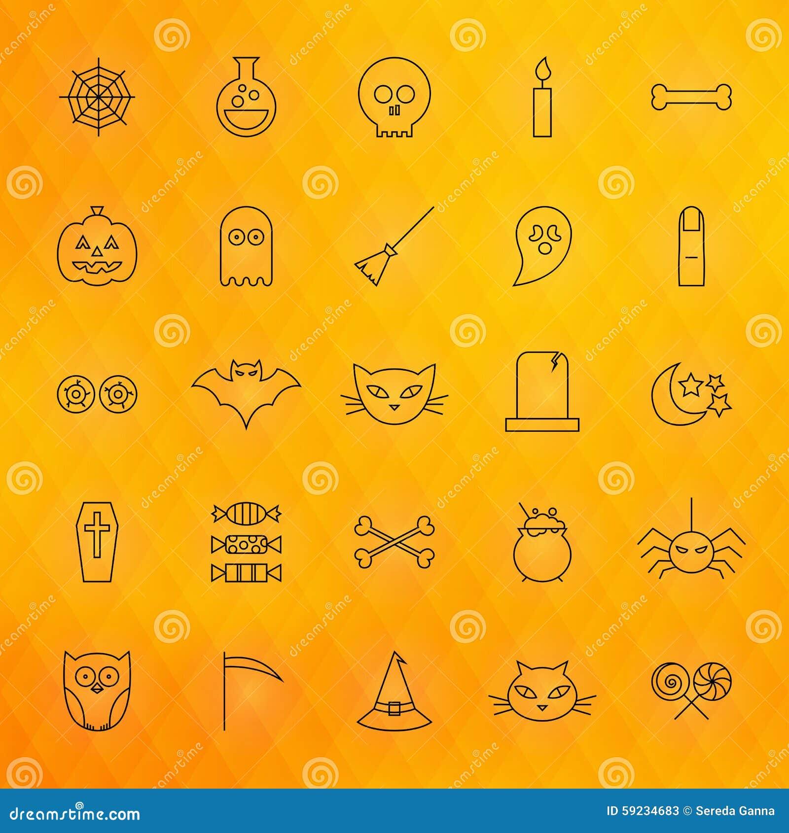 Línea fina iconos de Halloween fijados