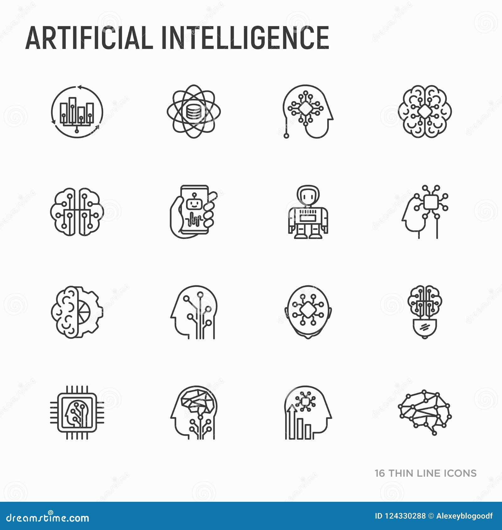 Línea fina iconos de la inteligencia artificial fijados