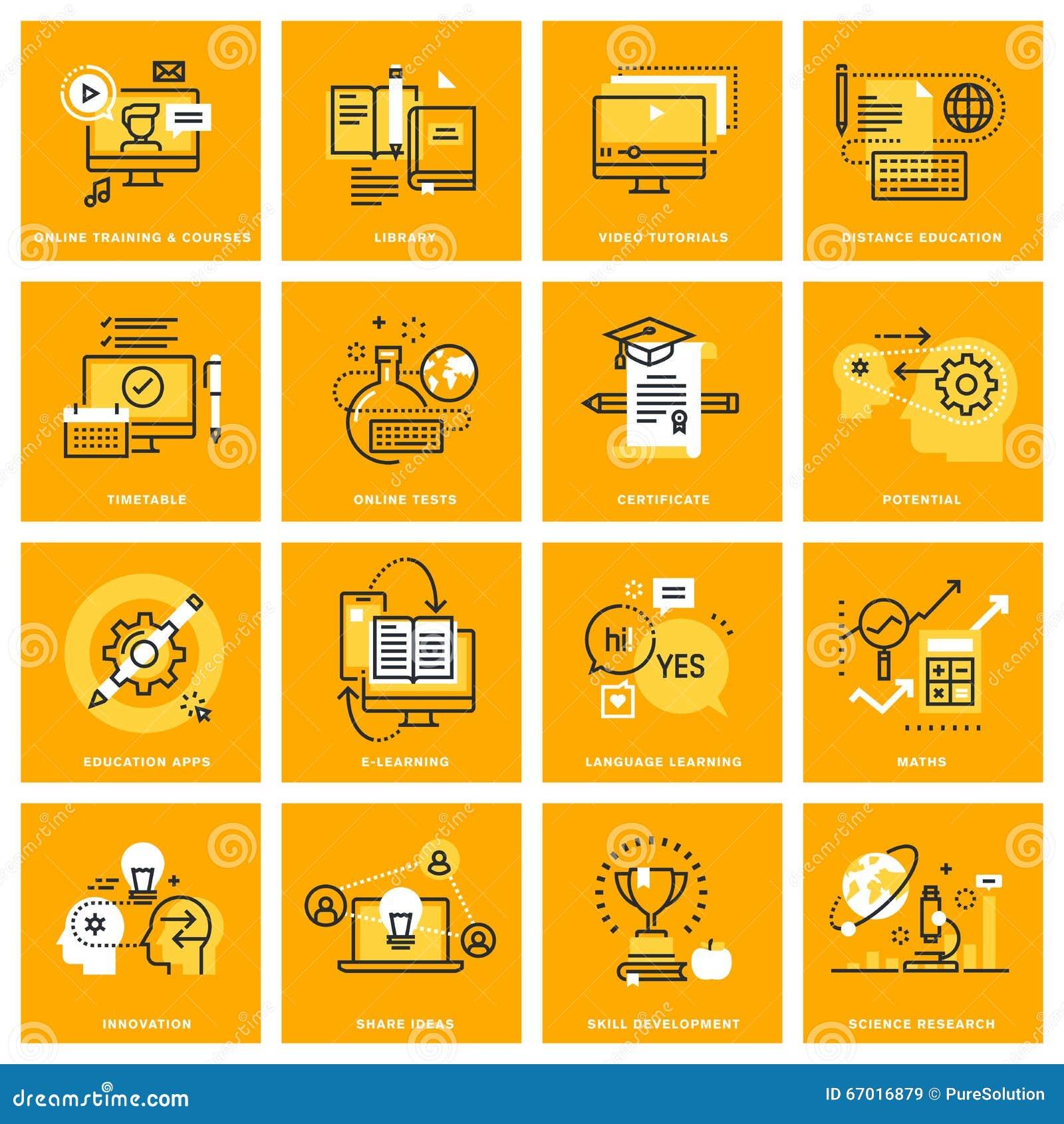 Línea fina iconos del web del aprendizaje electrónico