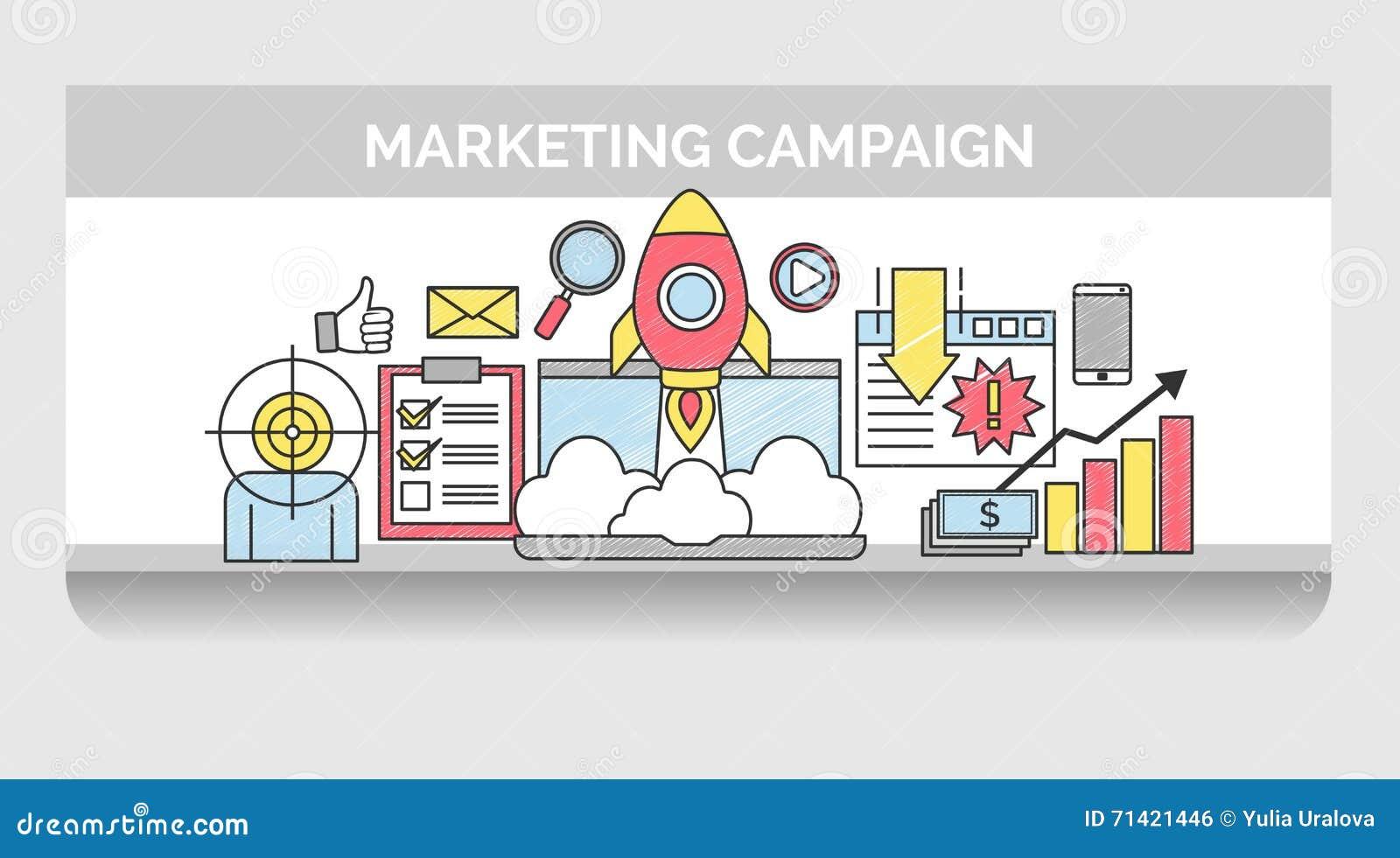 Línea Fina Iconos Para La Campaña De Marketing De Internet ...