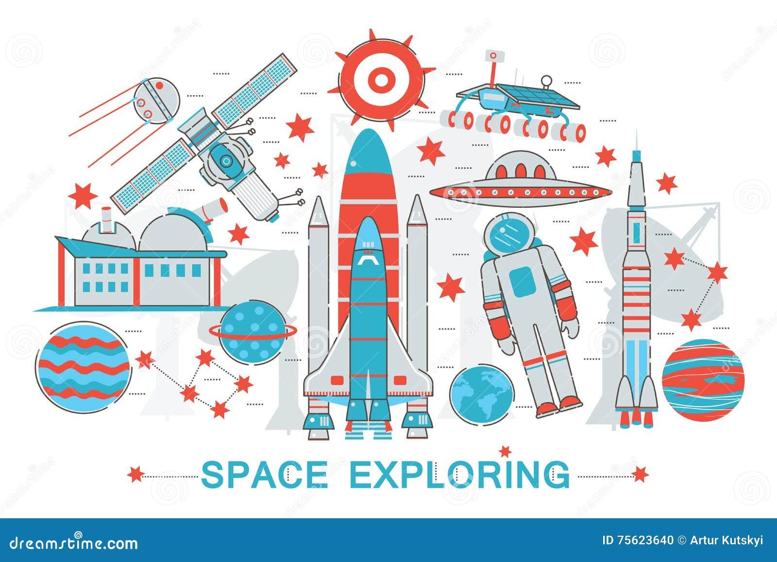 Línea fina plana moderna concepto de exploración de la tecnología del espacio abierto del diseño