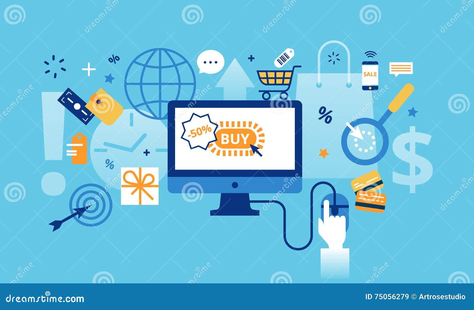 Línea fina plana moderna ejemplo del vector del diseño, concepto de compras en línea, ventas de Internet con venta al por menor y