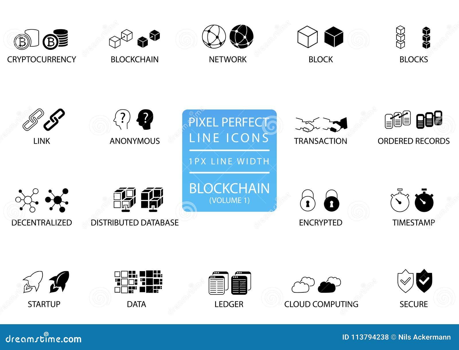 Línea fina sistema de Blockchain y del cryptocurrency del icono Iconos perfectos del pixel con 1 línea anchura del px para el uso