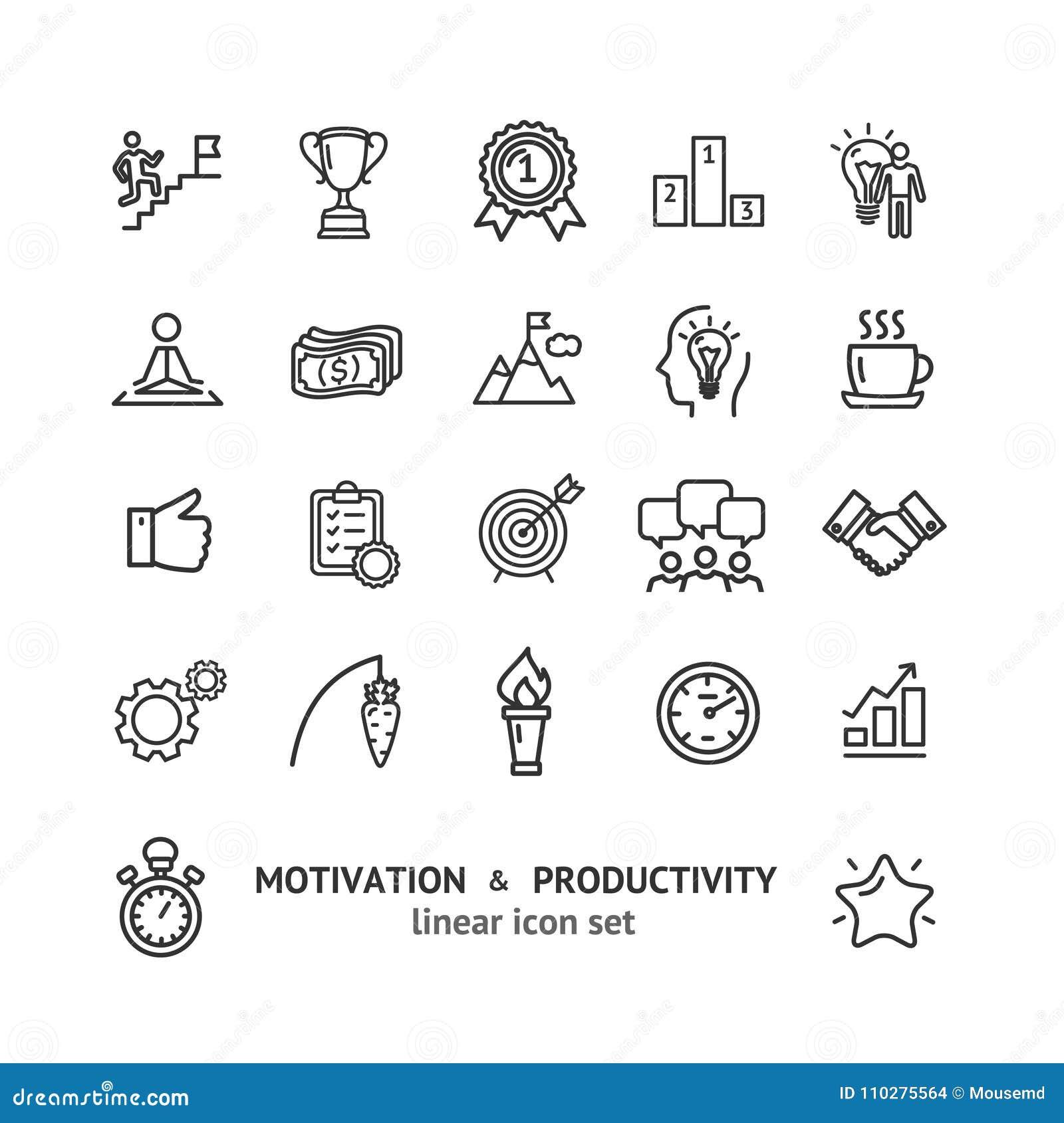 Línea fina sistema del negro de las muestras de la motivación y de la productividad del icono Vector