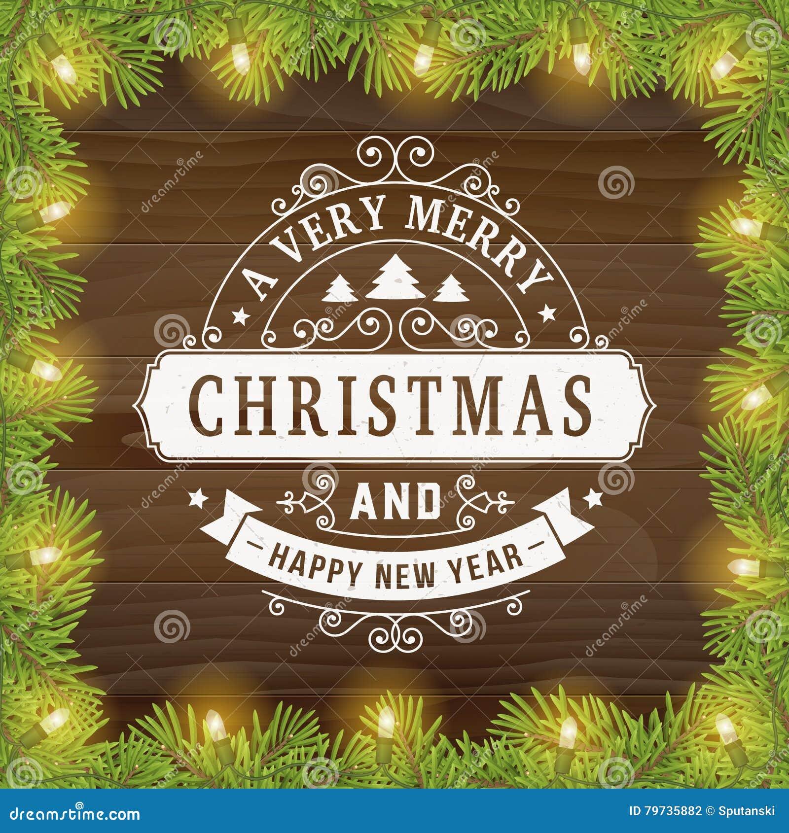 Línea fondo del vintage de la Feliz Navidad de la tarjeta de felicitación del arte
