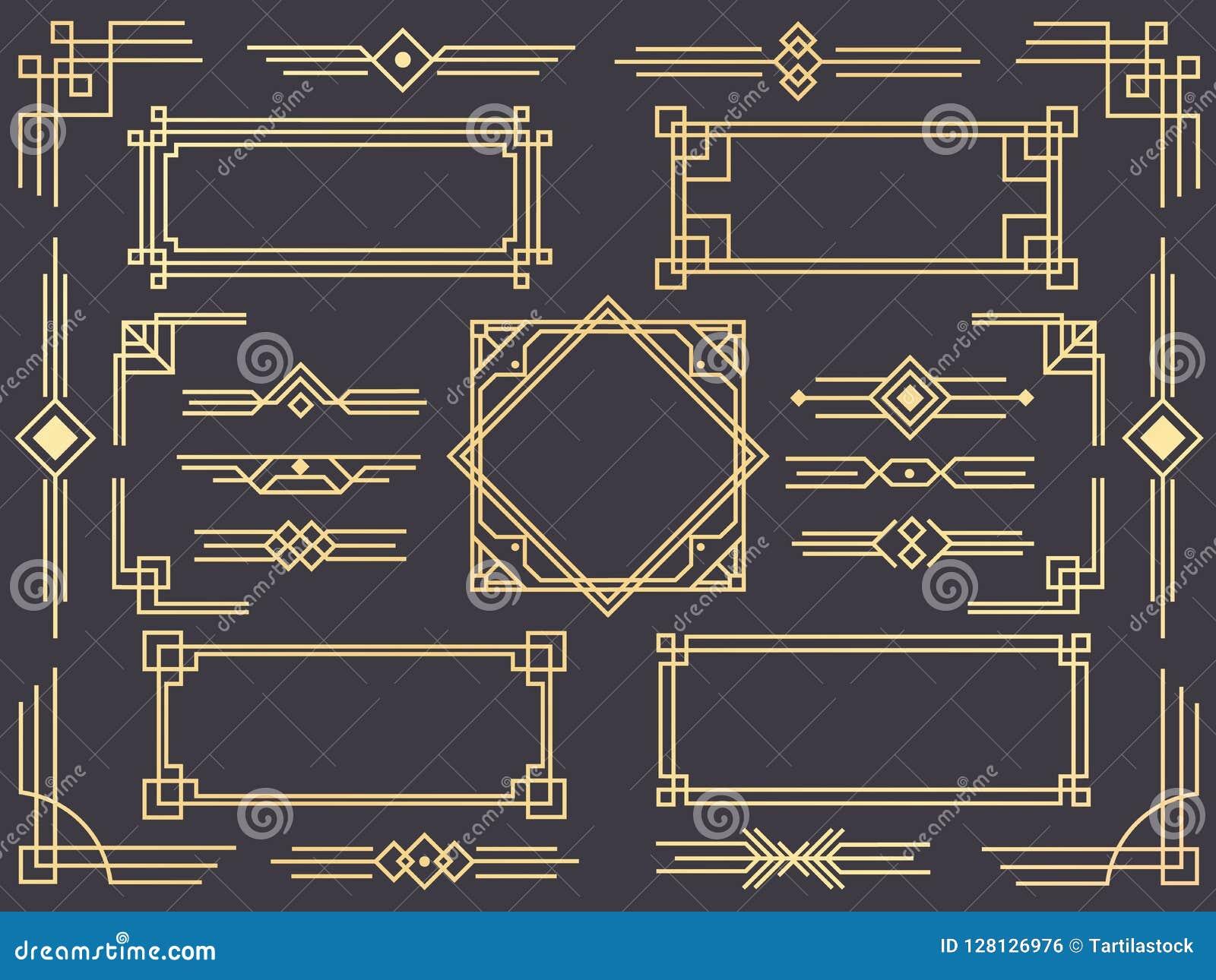 Línea frontera del art déco Los marcos árabes modernos del oro, las líneas fronteras decorativas y el vector de oro geométrico de