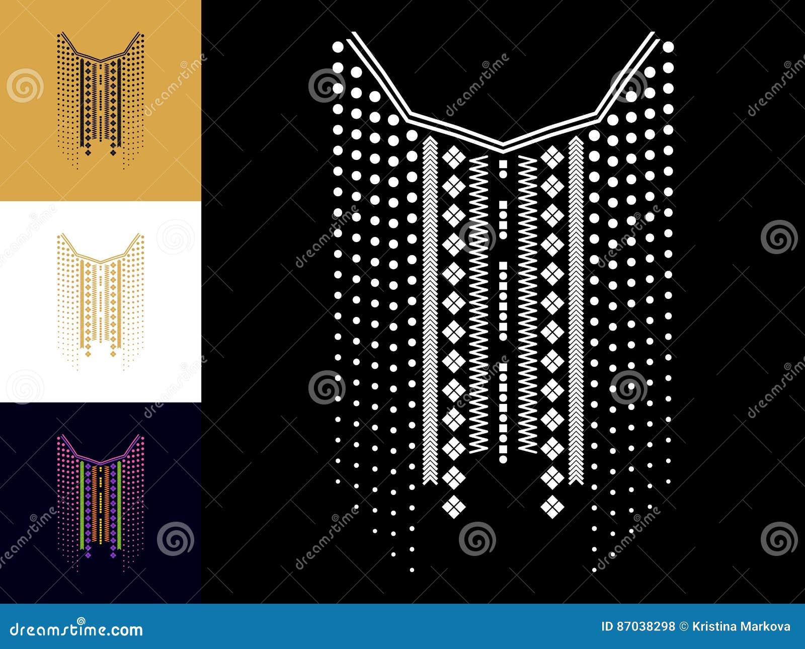 Línea geométrica étnica bordado del cuello Decoración para la ropa