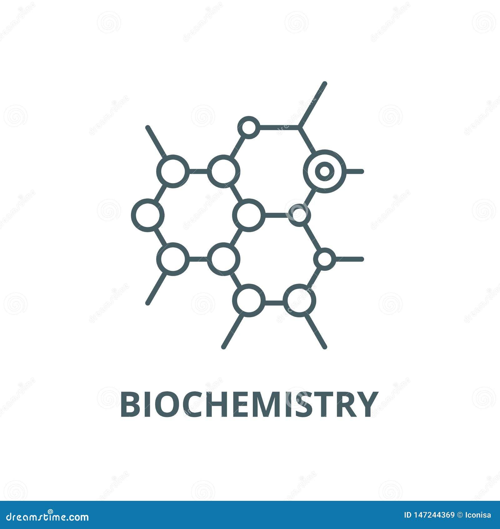 Línea icono, concepto linear, muestra del esquema, símbolo del vector de la bioquímica