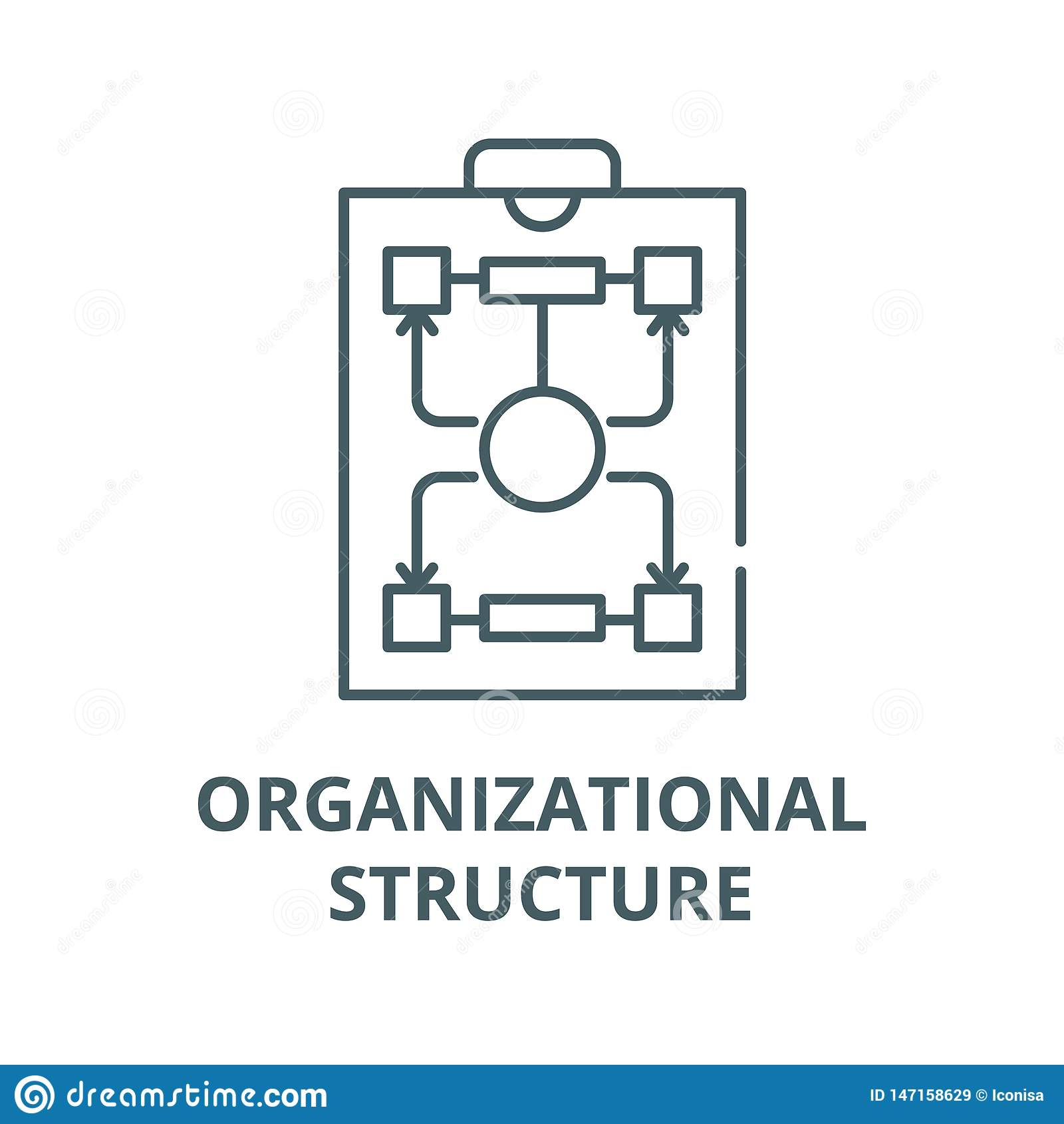 Línea icono, concepto linear, muestra del esquema, símbolo del vector de la estructura de organización