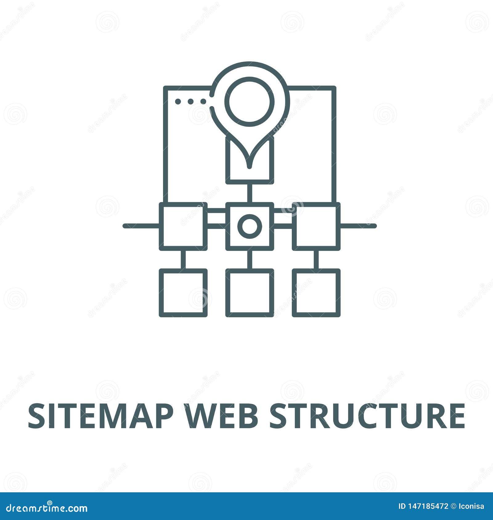 Línea icono, concepto linear, muestra del esquema, símbolo del vector de la estructura de la web de Sitemap