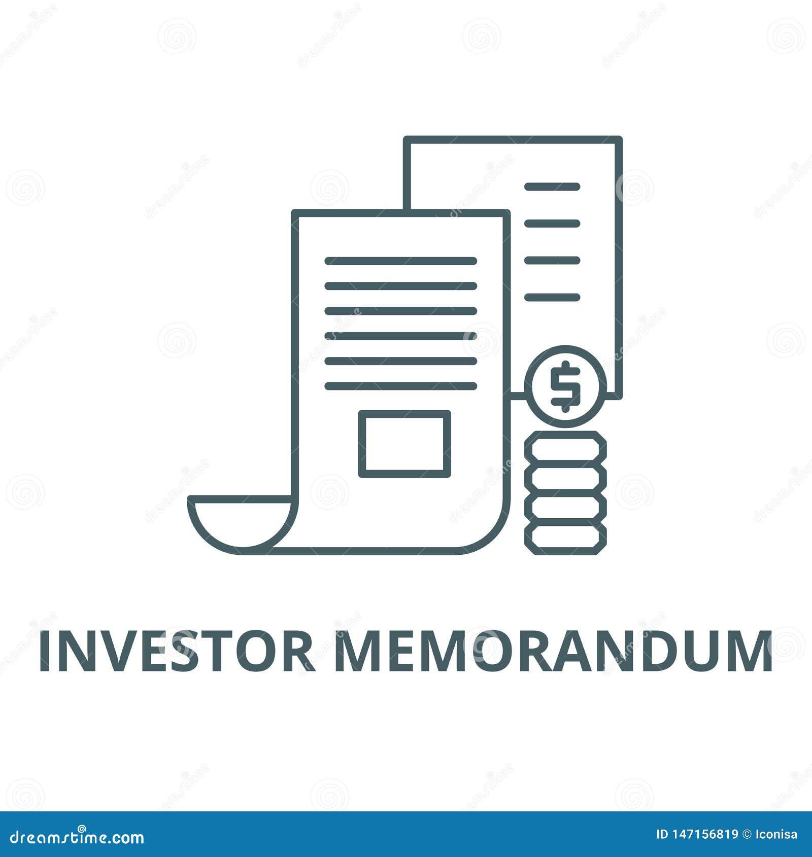 Línea icono, concepto linear, muestra del esquema, símbolo del vector del memorándum del inversor