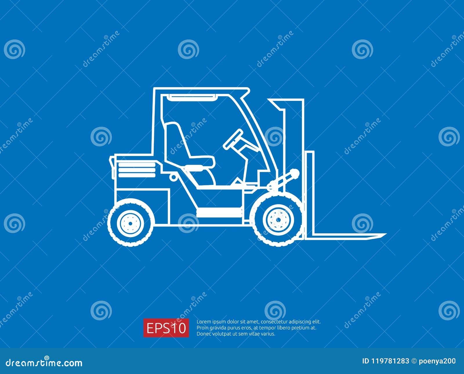 Línea icono de la carretilla elevadora ejemplo del vector del cargador de la bifurcación del almacén símbolo del camión de repart
