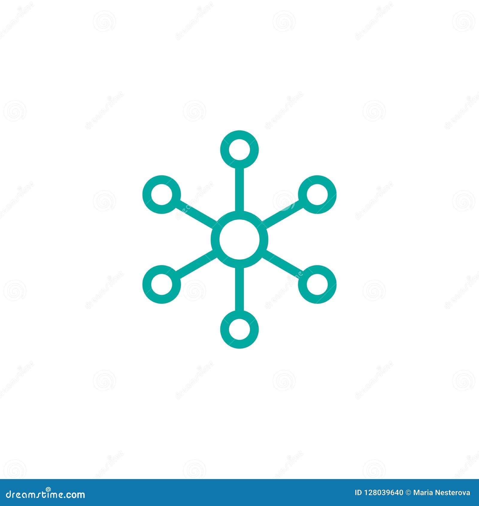 Línea icono de la conexión de red del eje aislado en blanco Logotipo de la tecnología o de la tecnología Botón del servidor o de