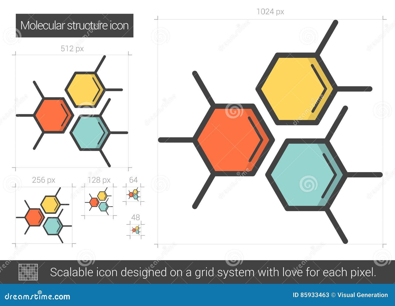 Línea Icono De La Estructura Molecular Ilustración Del