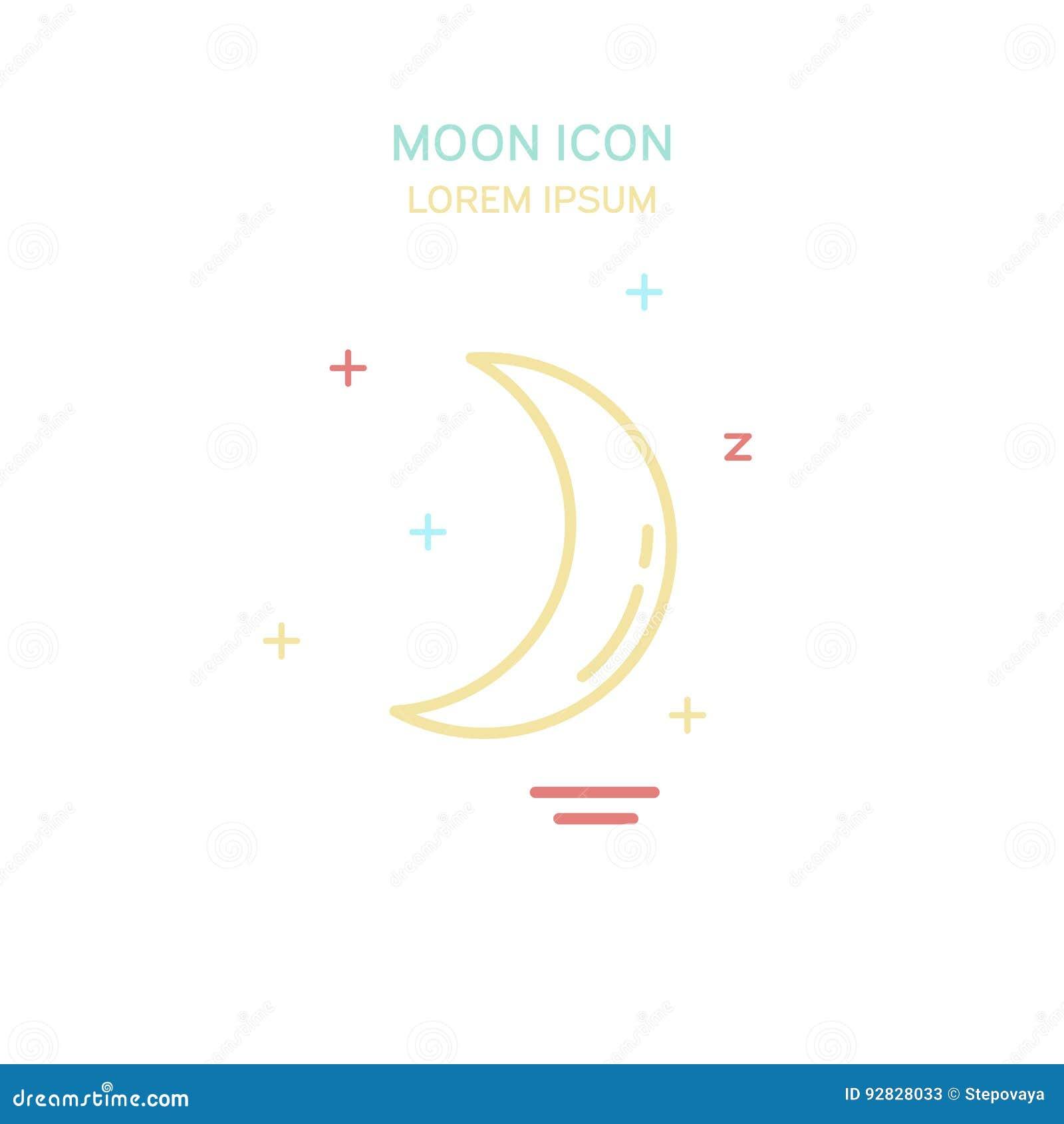Línea icono de la luna del color del estilo Ilustración del vector