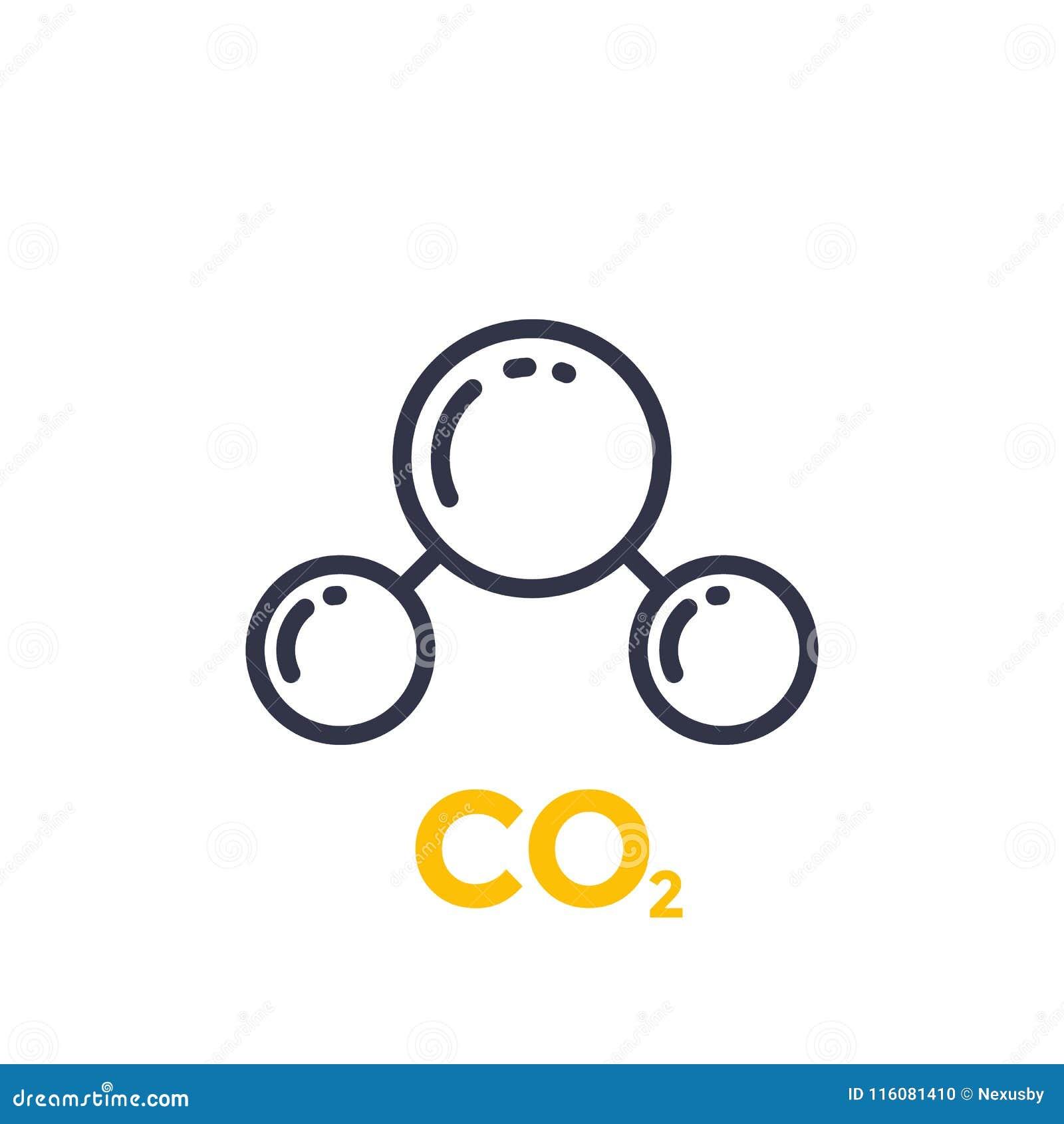 Línea icono de la molécula del CO2