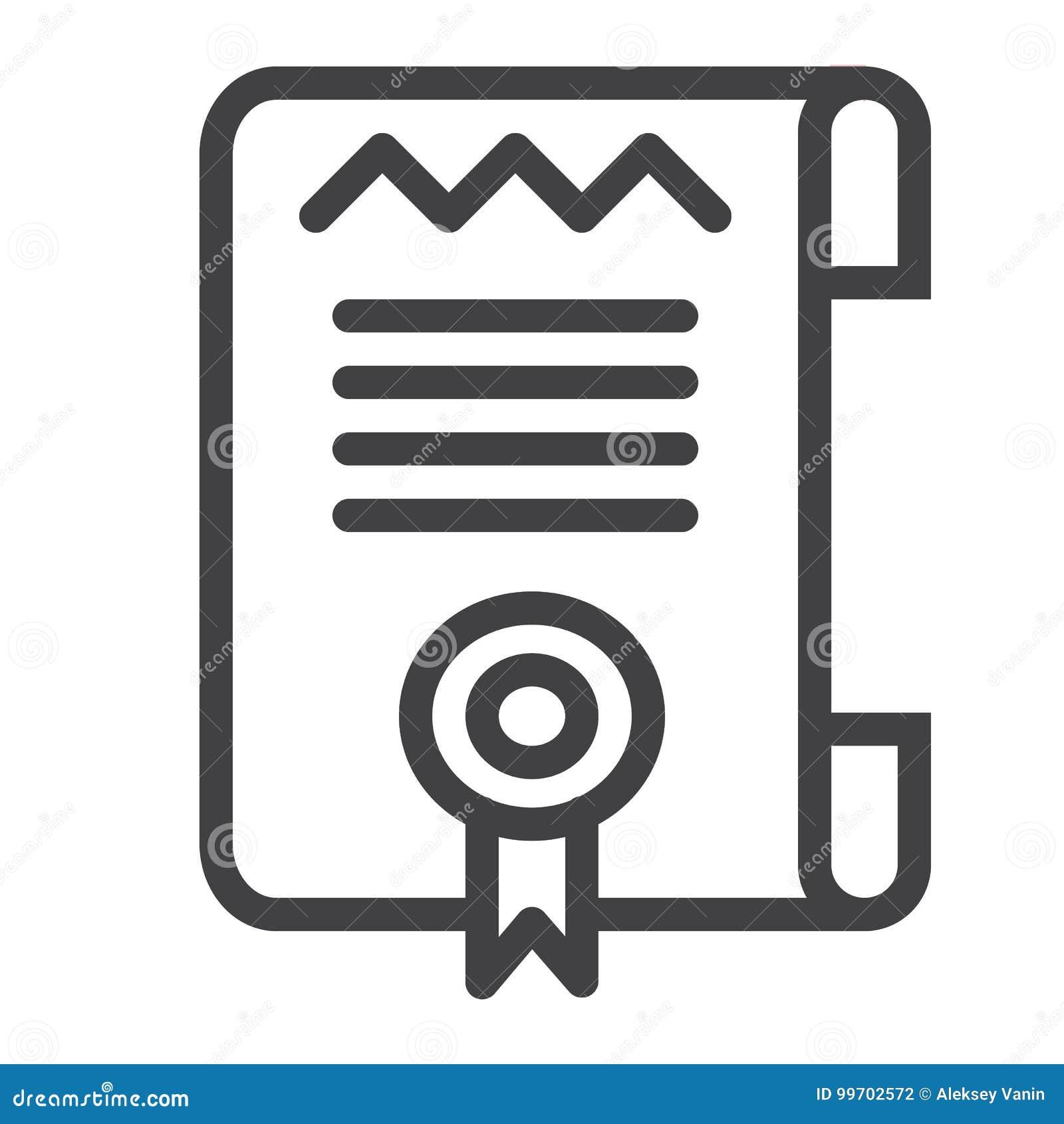 Línea icono de la plantilla del certificado o del diploma