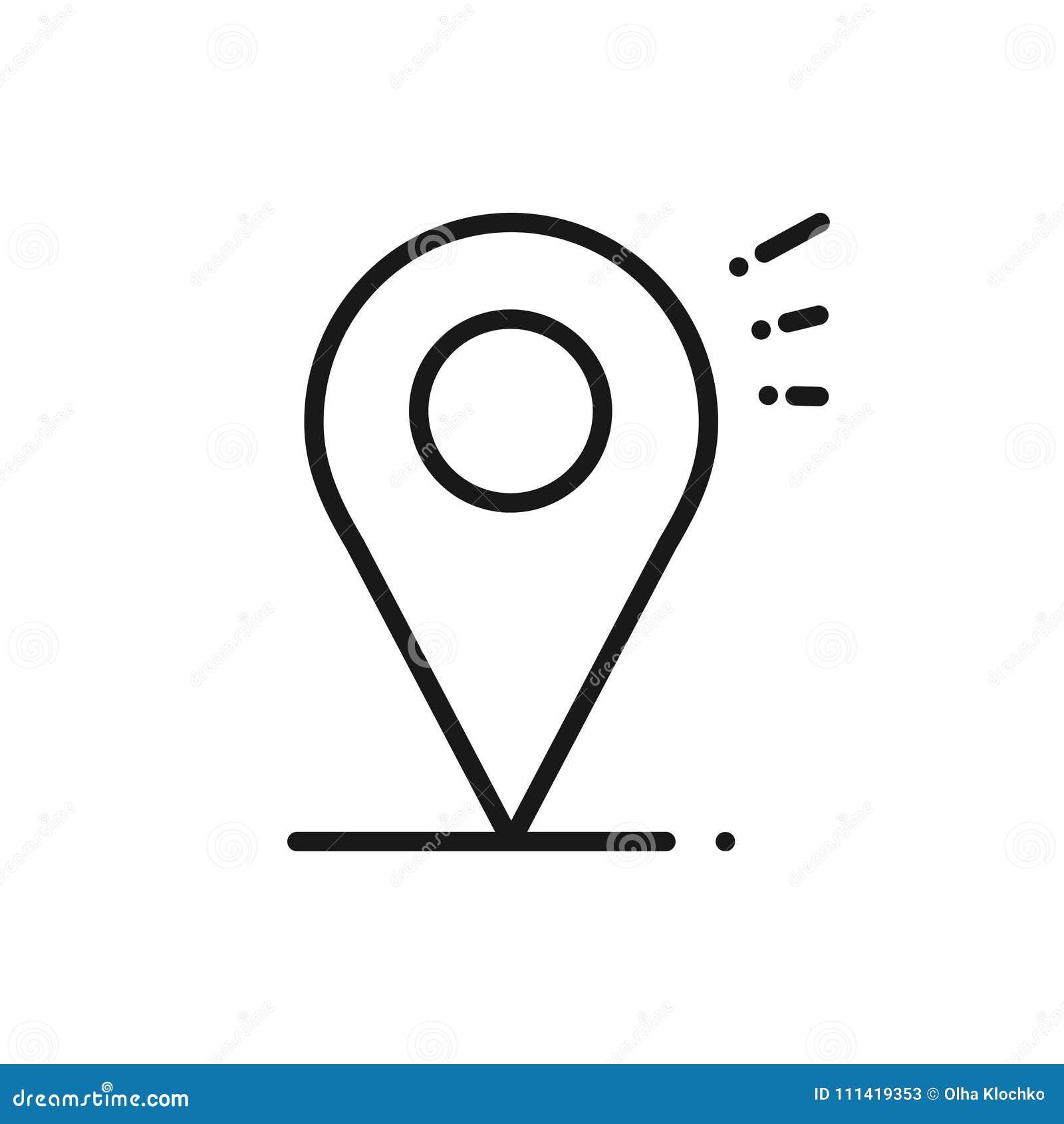 Línea icono de la ubicación Muestra y símbolo del indicador del perno del mapa nearsighted