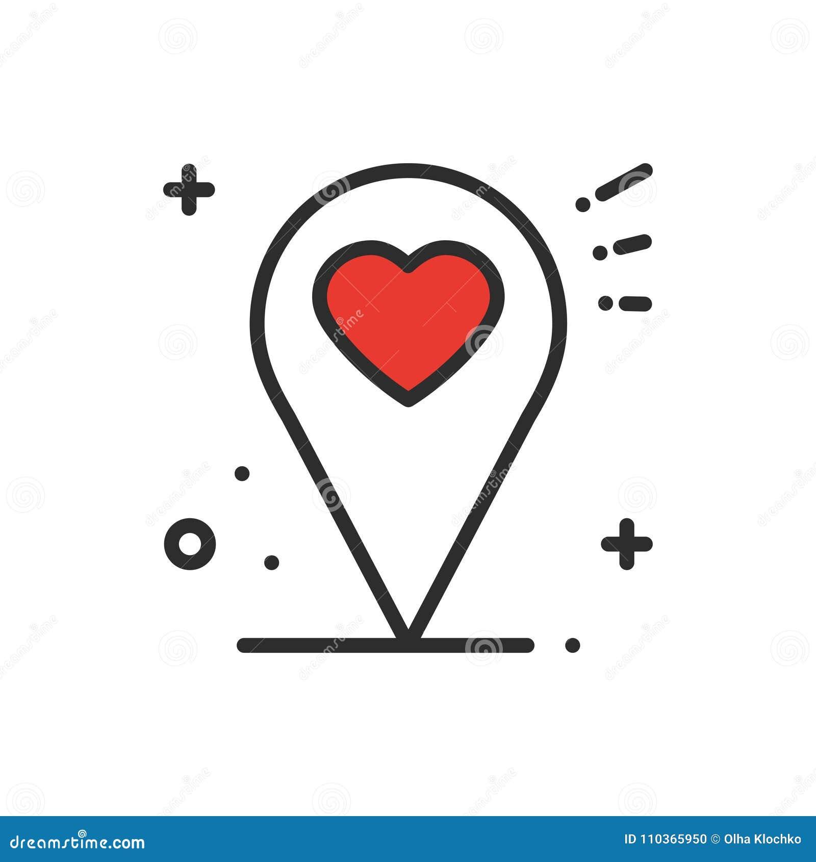 Línea icono de la ubicación Muestra y símbolo del indicador del perno del mapa nearsighted Dimensión de una variable del corazón