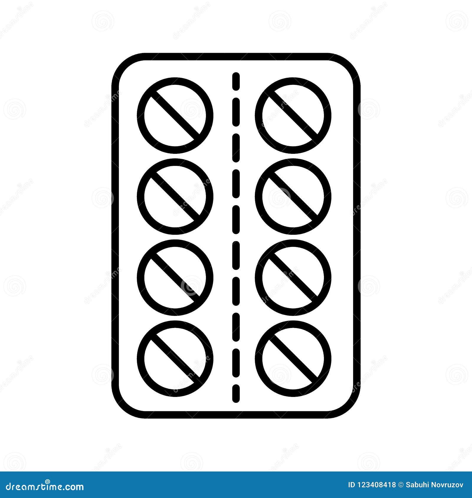 Línea icono de las píldoras Ejemplo del vector aislado en blanco diseño del estilo del esquema, diseñado para el web y el app EPS