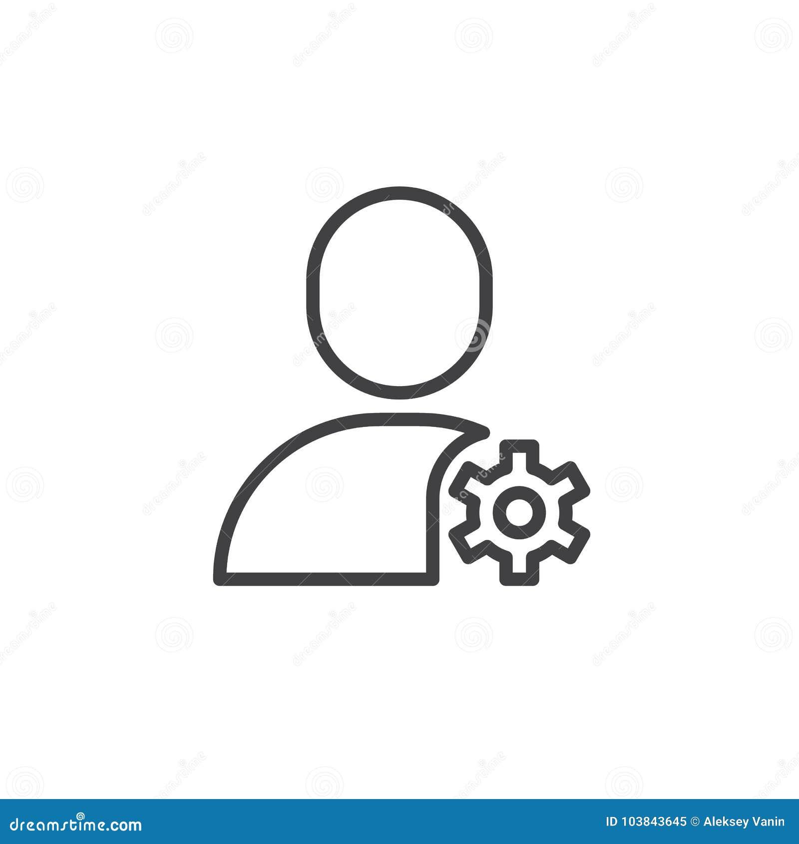 Línea icono de los ajustes de la cuenta