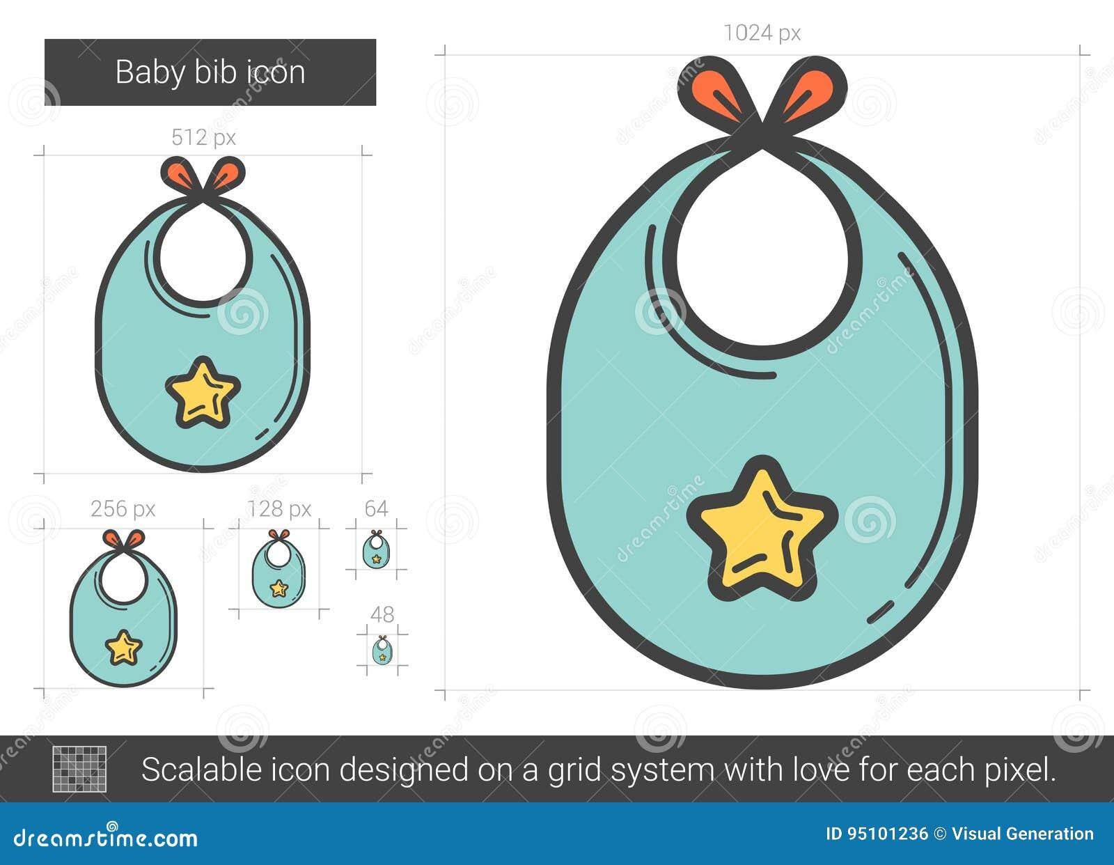 Línea icono del babero del bebé