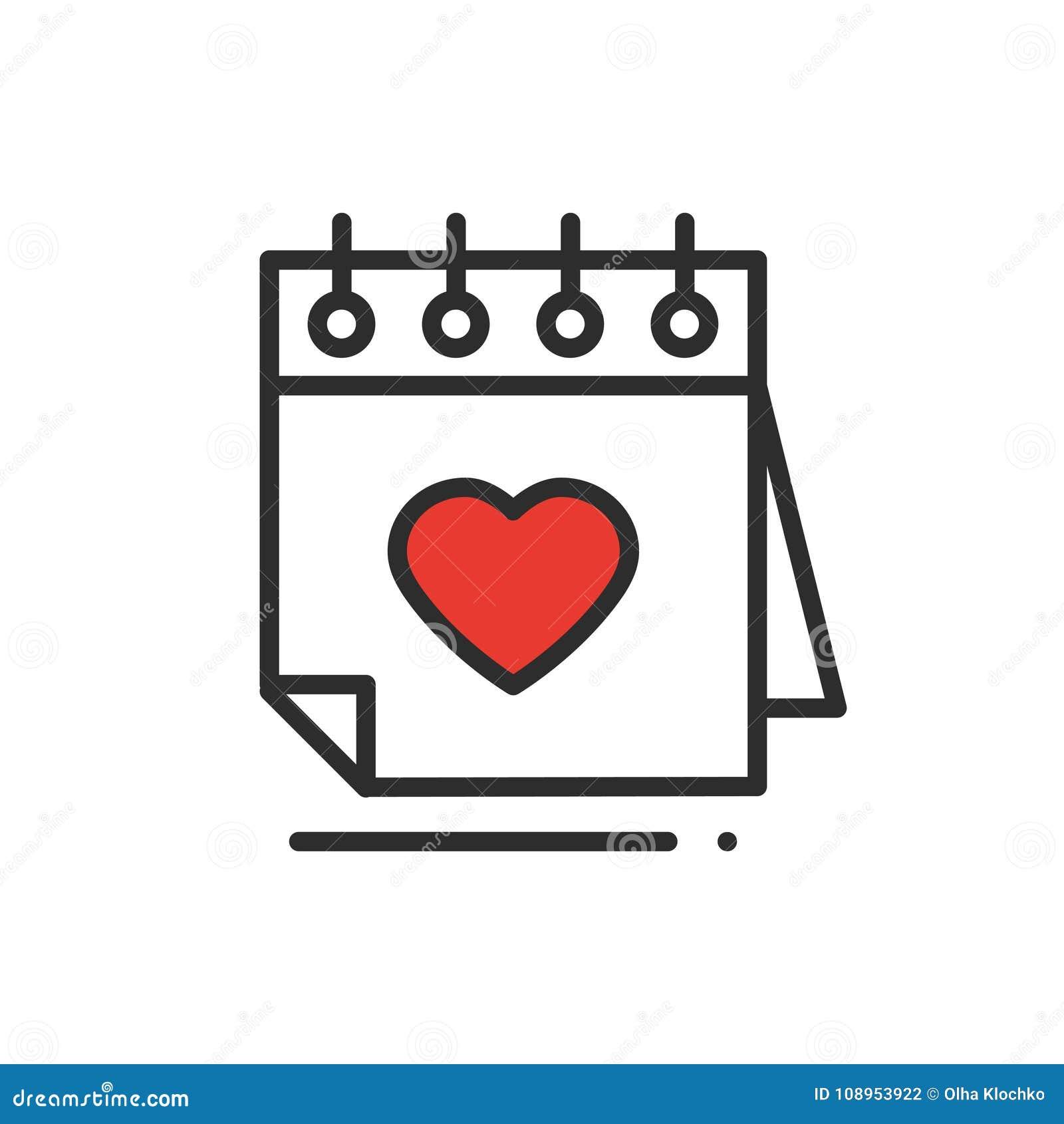 Línea icono del calendario recordatorio Muestra y símbolo felices del día de San Valentín Tema del día de boda de la datación de